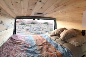 Interior cabin view of sunset in the 2021 Dodge Promaster Campervan